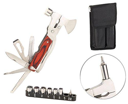 Semptec Urban Survival Technology Tool: 26in1-Multitool aus Edelstahl mit Holzgriff und Schraubendreher-Set (Multitool mit Zange)