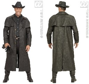 WIDMANN XL Black Duster Coats Kostüm XL für Wild West Cowboy Fasching