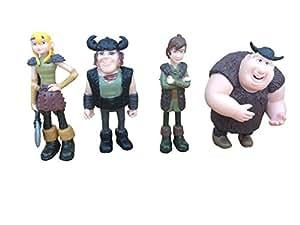 Dragon Defenders of Berk - 4 Vikings : Astrid, Hiccup, Fishlegs and Snotlout 8 cm PVC Figuirines -