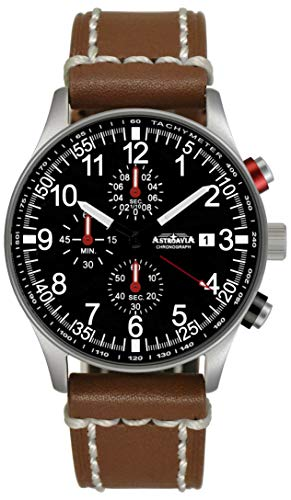 Astroavia Herren-Armbanduhr Chronograph Quarz mit Leder Armband N38L7