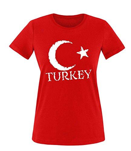Luckja EM 2016 Trikot Türkei Fanshirt EM01 Damen Rundhals T-Shirt
