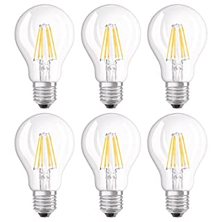 Osram LED Retrofit Classic A Dimmable/LED Lamp, Classic Bulb Shape: E27, Dimmable, 7 W, 220 to 240 V, 60 W Replacement, Clear, Warm White, 2700 K, 6 x Pack of 1