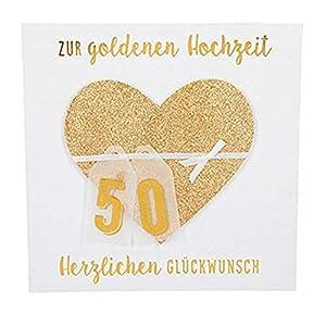 Depesche 8211.048Tarjeta de felicitación Glamour con Ornamento y Purpurina, Bodas de Oro