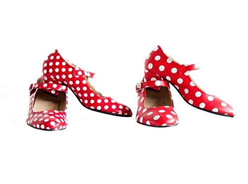 La Senorita Chaussures flamenco espagnol - Rouge blanc Rouge