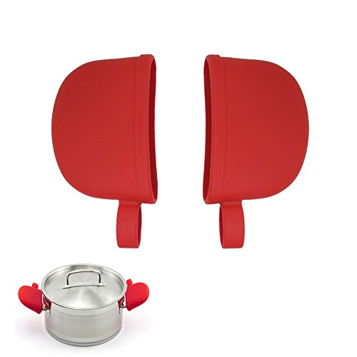 Atekuker Silicone Hot Handle Covers, Pan Handle Holders Sleeves (Red)