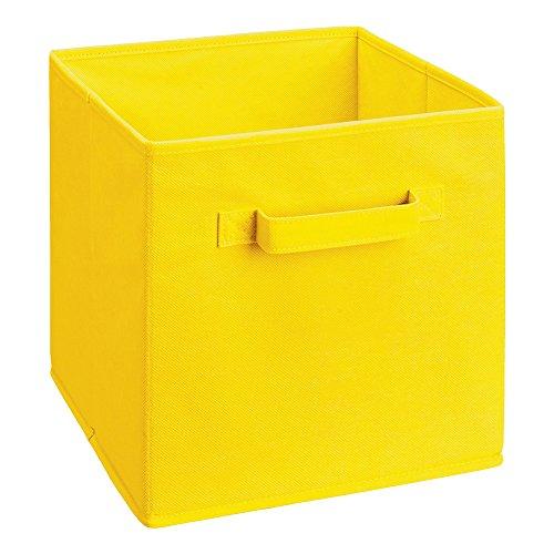 Cuadrado plegable juguete cubo lona cajas de almacenamiento de tela 22 x 22 x 22 cm (Amarillo)