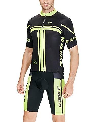 Inbike Radtrikot Set für Herren Fahrradbekleidung Kurzarm mit Radhose(XL)