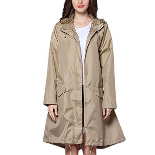 IZHH Mode Damen Regenjacke, Kapuze Einfarbig Mantel Feste Taschen Winddicht Freien Outwear Wasserdichte Splice Windjacke Regenbekleidung(Khaki,X-Large)
