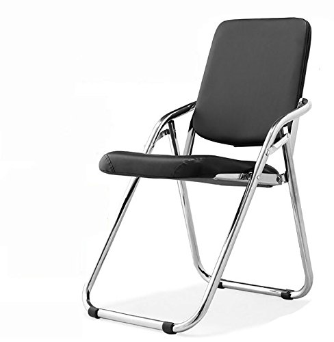 JHZY klappstühle klappsessel Klappstuhl Klapp-Trainingsstuhl Sitzungssaal Stuhl Tutoring Trainingsstuhl Performance Hall Sitz Stahlrohr Stuhl schwarz Leder Stuhl stühle klappbar (Farbe : 1#)