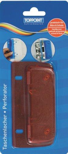 Taschenlocher Mini Locher mit Linealfunktion rot