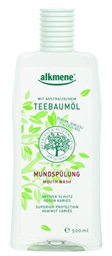 alkmene Mundspülung mit Fluorid, Teebaumöl, Mundwasser, vegan, 3er Pack (3 x 500 ml)