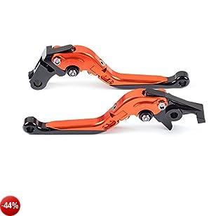 Tencasi Arancione Pieghevole Estensibile Regolabile Freni e frizione leve per KTM 390 Duke/RC390 2013-2017 , 200 Duke/RC200 2014-2016 , RC125/125 Duke 2014-2017
