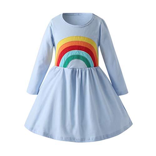 FEIXIANG Kleinkind Mädchen Langarm Kleid Regenbogen gedruckt eine Linie Plissee Kleid lässige Kleidung Geburtstagsfeier Prinzessin Kleid