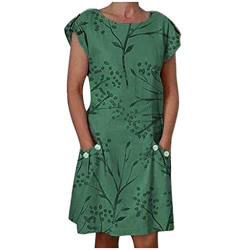 Ärmellos RundhalsElegant Minikleid Frau Knielanges Kleid mit Taschen Binggong Retro Strandkleid Festkleider ()