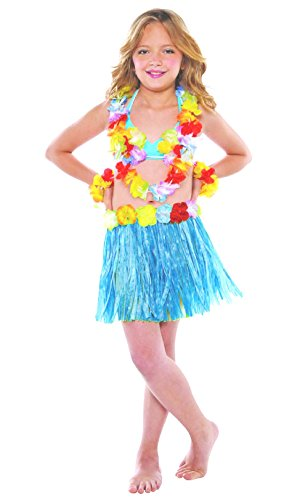 Hawaii-Rock für Mädchen Farbe Blau Karneval