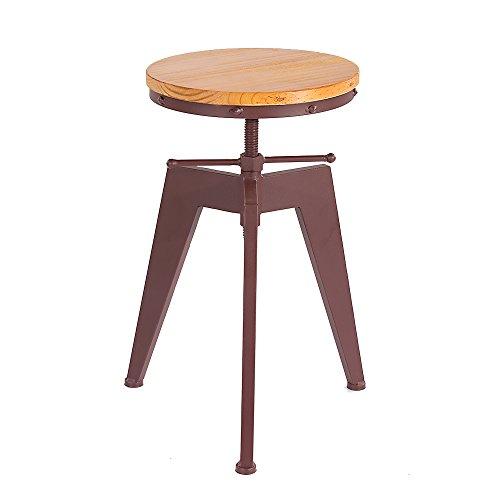 Ikayaa sgabello da bar, sgabello per bancone da bar con seduta in pino e telaio in metallo, regolabile in altezza.
