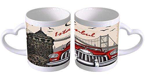 LEotiE SINCE 2004 Kaffeetasse mit Herzgriff Kaffeebecher Becher Tasse Mit Fotodruck Fototasse Reisen Küche Istanbul Herz Griff