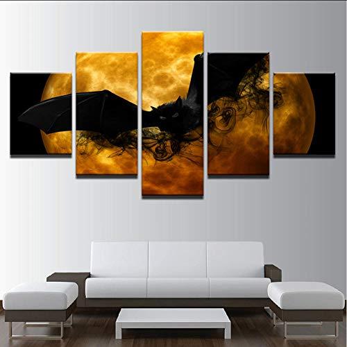 r Wohnzimmer Wandkunst 5 Stücke Halloween Gemälde Schwarze Fledermaus Orange Mond Abstrakte Bilder Wohnkultur ()
