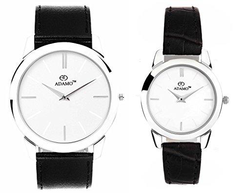 41wtWQtN3XL - ADAMO AD6472SL01 Slim Couples Wrist watch