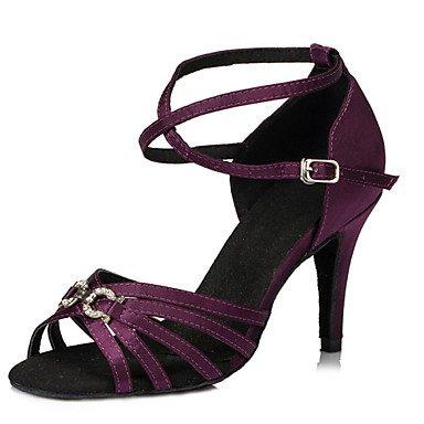 Scarpe da ballo-Da donna-Balli latino-americani / Jazz / Salsa / Samba / Scarpe da swing-Tacco su misura-Raso-Nero / Blu Purple