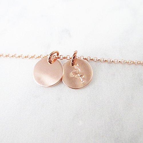 Flamingo Coin M & Coin M Halskette 925er Silber Roségold - Gravur Personalisiert Namen | Kette mit Namensanhänger Monogrammkette