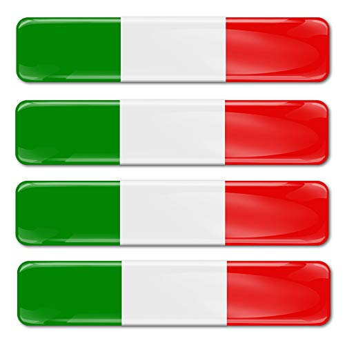 SkinoEu® 4 x Adesivi Resinati 3D Gel Stickers Divertente Bandiera Italia Italy per Auto Moto Finestrìno Porta Casco Scooter Skateboard Bici PC Laptop Tablet Tuning F 13