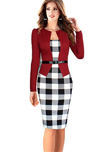 KingField - Robe - Crayon - Manches Longues - Femme - Red Big Plaid