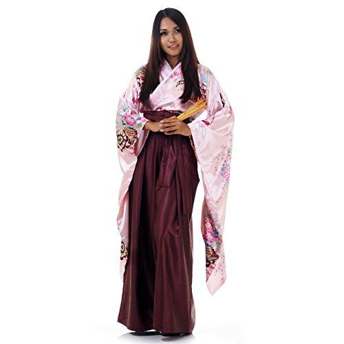 Japan Damen Geisha Samurai Asia Kostüm Kimono Bluse + Hakama Hosenrock (Rosa & (D'halloween Kostüm Geisha)