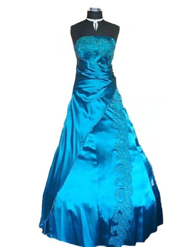 JuJu & Christine Langes Damen Satin Ballkleid Abendkleid Modell Janina vers. Farben Gr. 34 - 50 Petrol