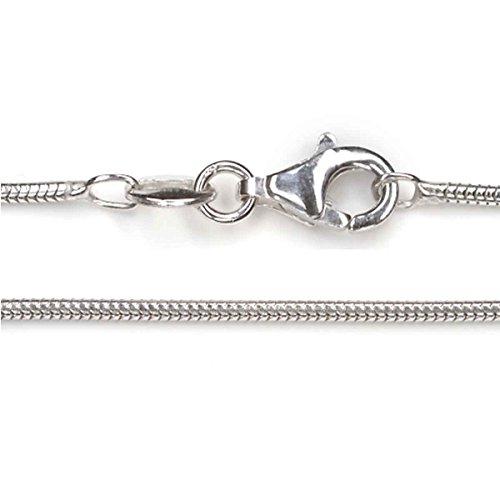 Silberkette Schlangenkette 925er Silber rhodiniert Halskette 1.2mm Stärke div. Längen Juweliersqualität