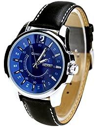 City ORKINA de color plateado carcasa indicación de fecha esfera azul y correa Leaher para hombre reloj de pulsera de moda