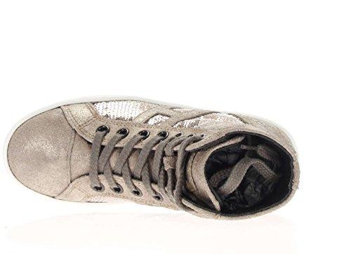 Hogan Rebel Junior Bambina Sneaker HXC1410P991DWE699F R141 allacciato tessuto paillettes Argilla