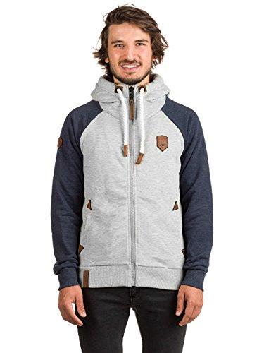 Naketano Male Zipped Jacket Fucking for Freedom III grey / indigo blue melang
