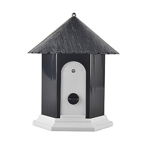 Xinxin-star Ultrasonic Outdoor Dog Bark Controller Anti Barking Device Birdhouse Shape (Black)