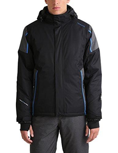 Ultrasport Davos - Giacca invernale da uomo - Giacca da sci o snowboard con tecnologia Ultraflow 10.000 - Giubbotto da alpinismo/trekking funzionale, nero/blu, M