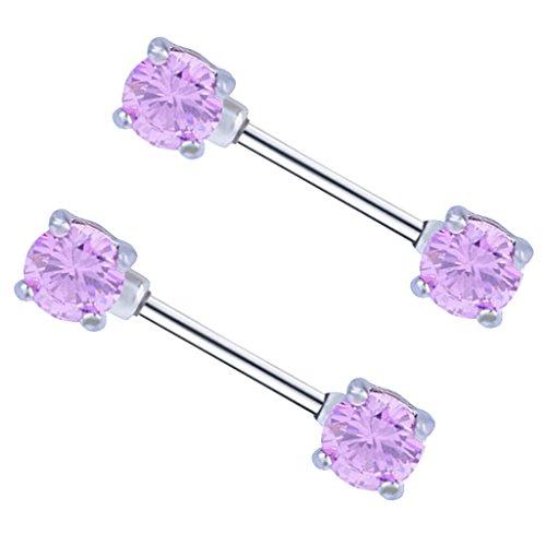 Sharplace 1 paio anello capezzolo in acciaio inox gioielli piercing con zircone - rosa
