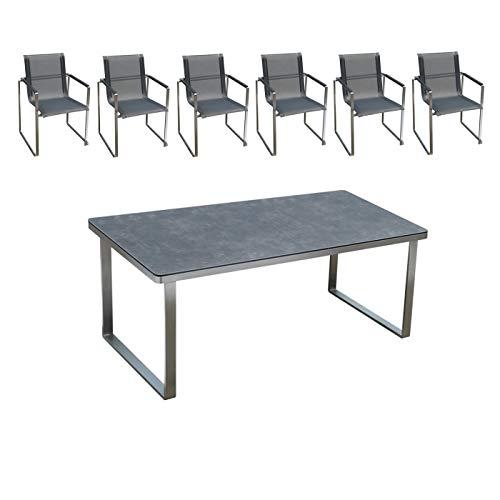 Edles und hochwertiges Gartenmöbel Set: 1 Tisch aus Edelstahl mit Glaskeramik-Platte und Gartenstühle aus Edelstahl von Linneborn Metallwaren (160 cm Tisch und 6 Stühle)