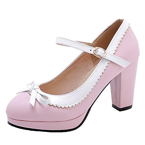 YE Damen Rockabilly Pumps Blockabsatz Plateau High Heels mit Riemchen und Schleife 9cm Absatz Elegant Schuhe Rosa Ankle Strap High Heel