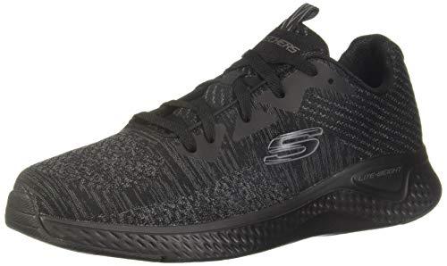 Skechers Herren SOLAR Fuse KRYZIK Sneaker, Schwarz (schwarzes Mesh/Synthetik/schwarzer Rand BBK), 45 EU