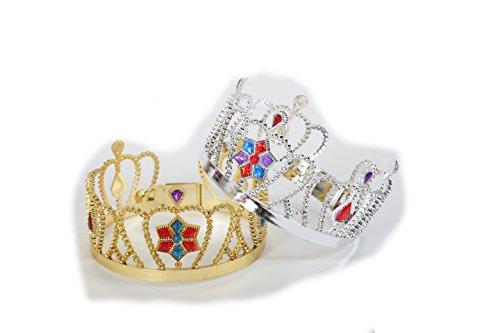 Krone Gold oder Silber mit bunten Steinchen Prinzessinnenkrone Kopfgroß Kopfschmuck Märchen Theater Verkleidung Kostümzubehör (Silber)