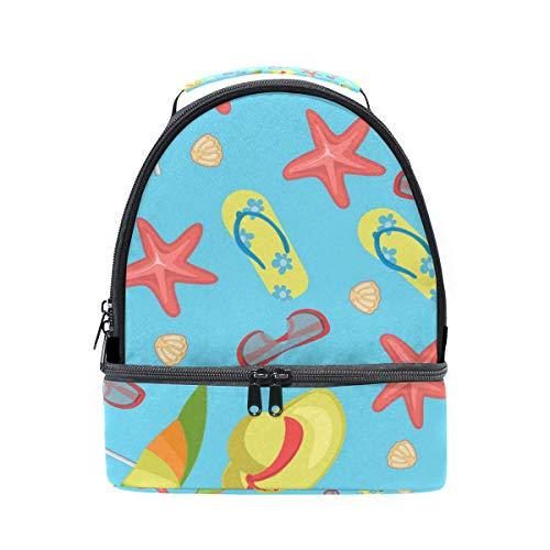 tizorax Sommer Hausschuhe Regenschirm Gläser Hüte Seestern Lunch Bag Isolierte Lunch Box Picknick Tasche Schule Kühltasche für Männer Frauen Kinder (Glas-hausschuhe Für Kinder)