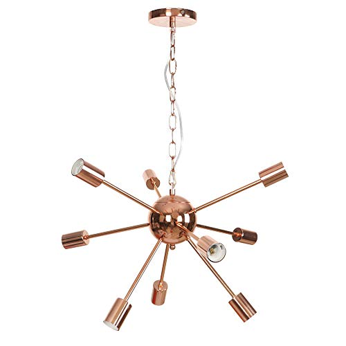 9 cabezales de lámpara de techo, lámparas colgantes, lámpara de araña americana, creativa, hierro regulable en altura sencilla, E27, lámparas de salón, dormitorio o comedor