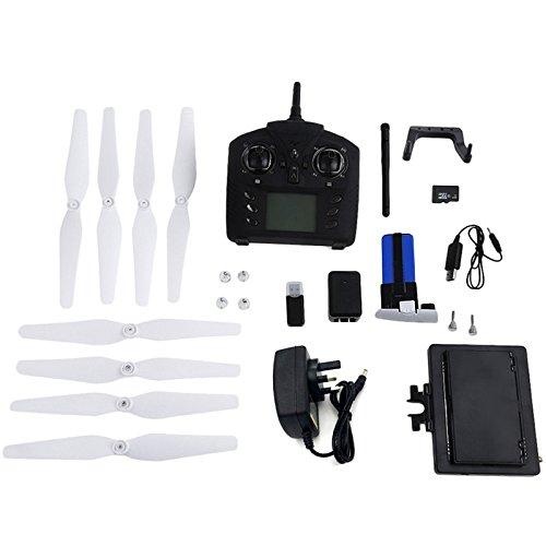 Wltoys Q333A FPV Drohne mit Kamera und Bildschirm 5.8G Live Übertragung Monitor 720P Cam Headless Modus für Erfahrener, mit 4G Speicherkarte, Garantie, 2 Akkus, Deutsche Anleitung, Weiß - 8