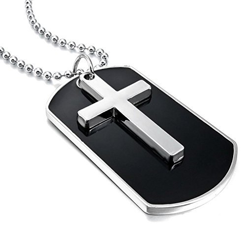 MENDINO Halskette für Herren, Silberlegierung, Kreuz im Armee-Stil, Anhänger mit Geschenkbeutel Emaille-tags
