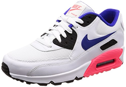 Nike Air Max 90 Essential, Baskets Mode Homme, Multicolore (White/Ultramarine/Solar Red/Bl 136), 42 EU