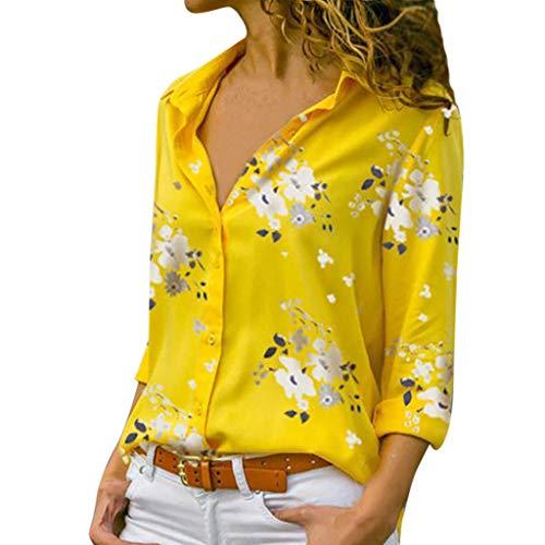 Axong_chemisier 2019 Plus RéCent Femme T Shirt Manches Longues Blouse Top en Mousseline Chemise Chic Imprimé avec Boutons S-5XL