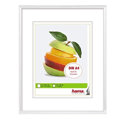 N A4, mit Papier-Passepartout 15 x 20 cm, hochwertiges Glas, Kunststoff Rahmen, zum Aufhängen, weiß ()
