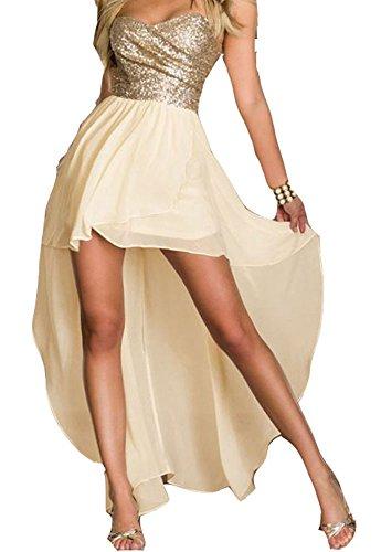 Ovender® vestiti eleganti lunghi da donna ragazza abito vestito donne ragazze impero formale elegante lungo per ballo pizzo party cerimonia festa sposa damigella (l, beige brillante)