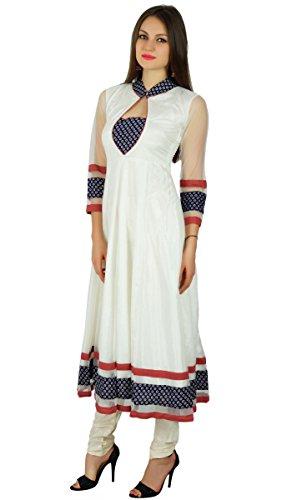 Bimba Frauen nobel Netz Anarkali kurta kurti lange Maxi formale Parteikleid indische Kleidung Weiß