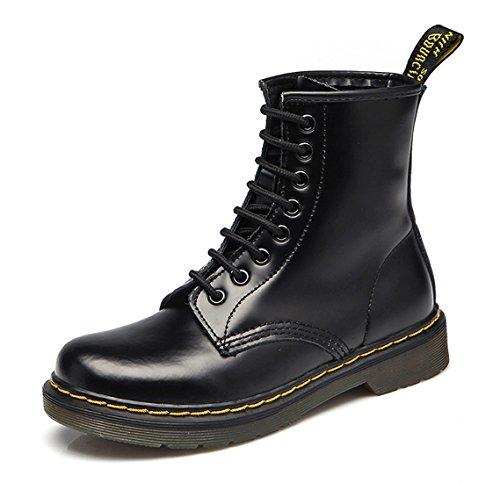 Honeystore Unisex-Erwachsene Bootsschuhe Derby Schnürhalbschuhe Kurzschaft Stiefel Winter Boots für Herren Damen Schwarz-02 39 EU (Boot Studded Suede)
